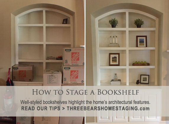 outlet store ad7ff f135a How to Stage a Bookshelf – Three Bears Home Staging